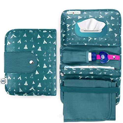 Jubi® Windeltasche mit Wickelunterlage für unterwegs mit großer Feuchttücheröffnung - Kleine Wickeltasche mit extra viel Platz - Grün mit Tipis