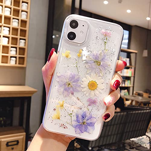 EYZUTAK Getrocknete Blumen Hülle für iPhone 7 iPhone 8 iPhone SE 2020, Weiche Schlanke TPU Klar Funkeln Sterne Glitzer Silikon Gel Stoßfeste Blume Schutztasche -Hellblaue