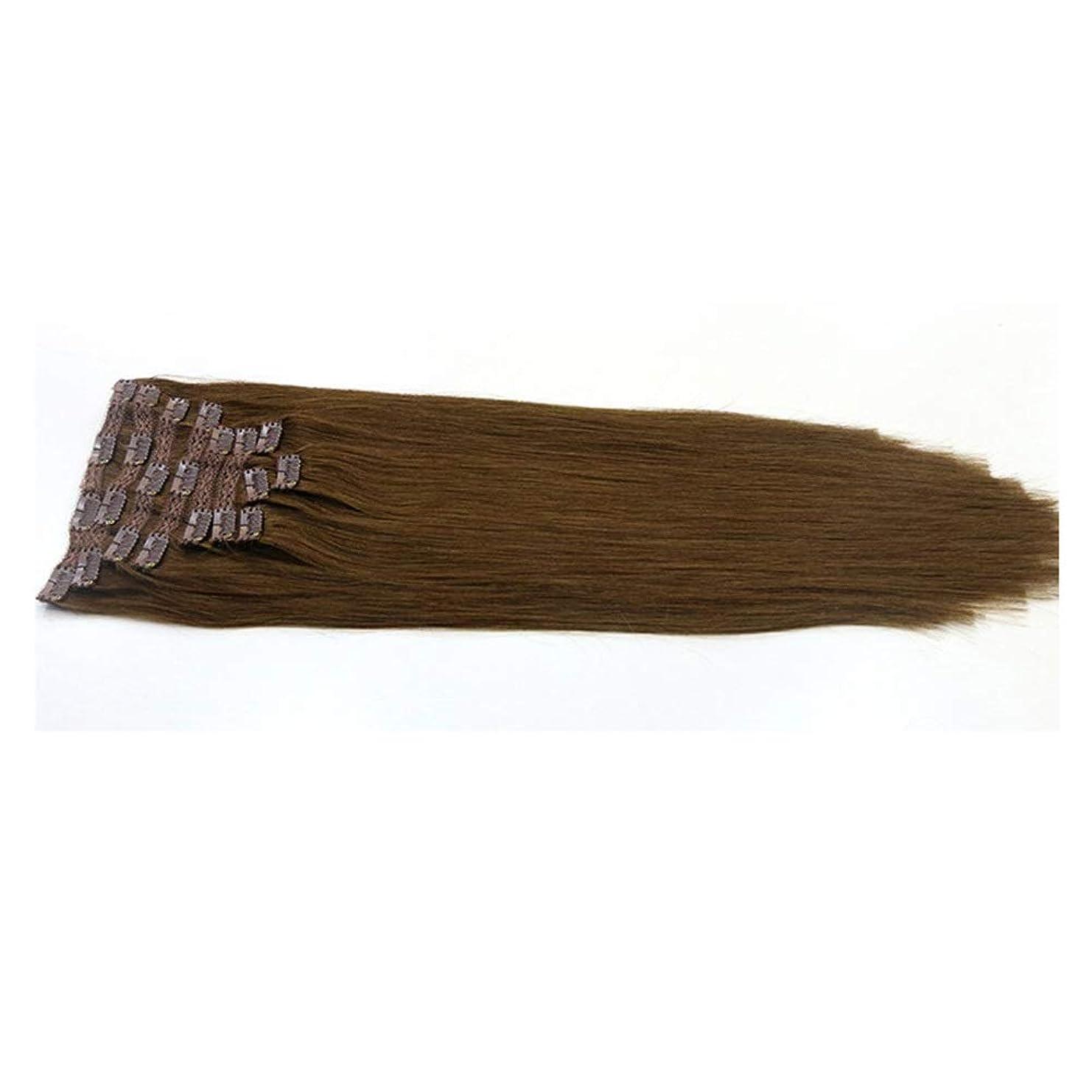 試してみる深く臨検JULYTER ブラジルのヘアエクステンションクリップ人間の髪の毛のワンピース3/4フルヘッドレミー生物学的連続横糸 (色 : ブラウン, サイズ : 22 inch)