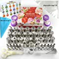 Russian Piping Tips - Cake Decorating Supplies - 88 Baking Supplies Set - 49 Icing Piping Tips - 3 Russian Ball Piping Tips, Flower Frosting Tips, Bakes Flower Nozzles-Large Cupcake Decorating Kit
