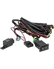 Kit de cableado de interruptor de luz antiniebla, 12V 40A Coche universal LED Interruptor de encendido/apagado de luz de niebla Kit de relé de mazo de cables