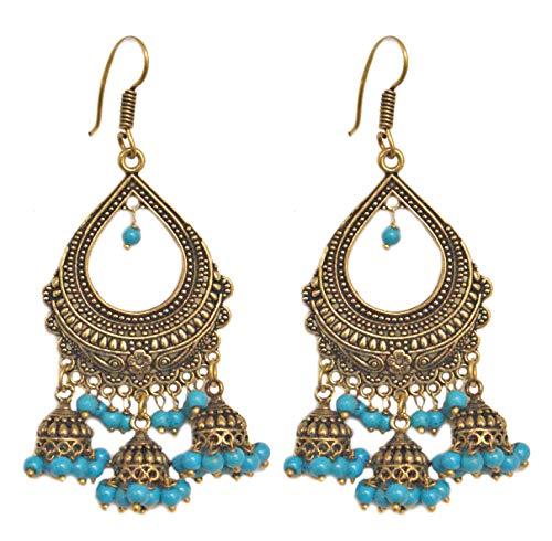 Pahal - Juego de joyas de boda india con perlas azules y brillantes oxidadas