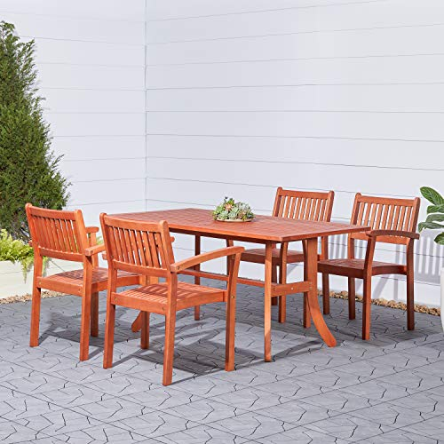 VIFAH Malibu Outdoor 5-Piece Wood Patio Dining Set with Stacking Chairs