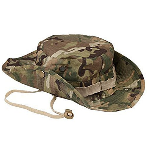 Haodou Sombrero Estampado de Camuflaje Militar de ala Ancha Borde Redondo Anti-UV Algodón de Sol Al Aire Libre Senderismo Camping Gorra Montaña para Adulto Unisexo