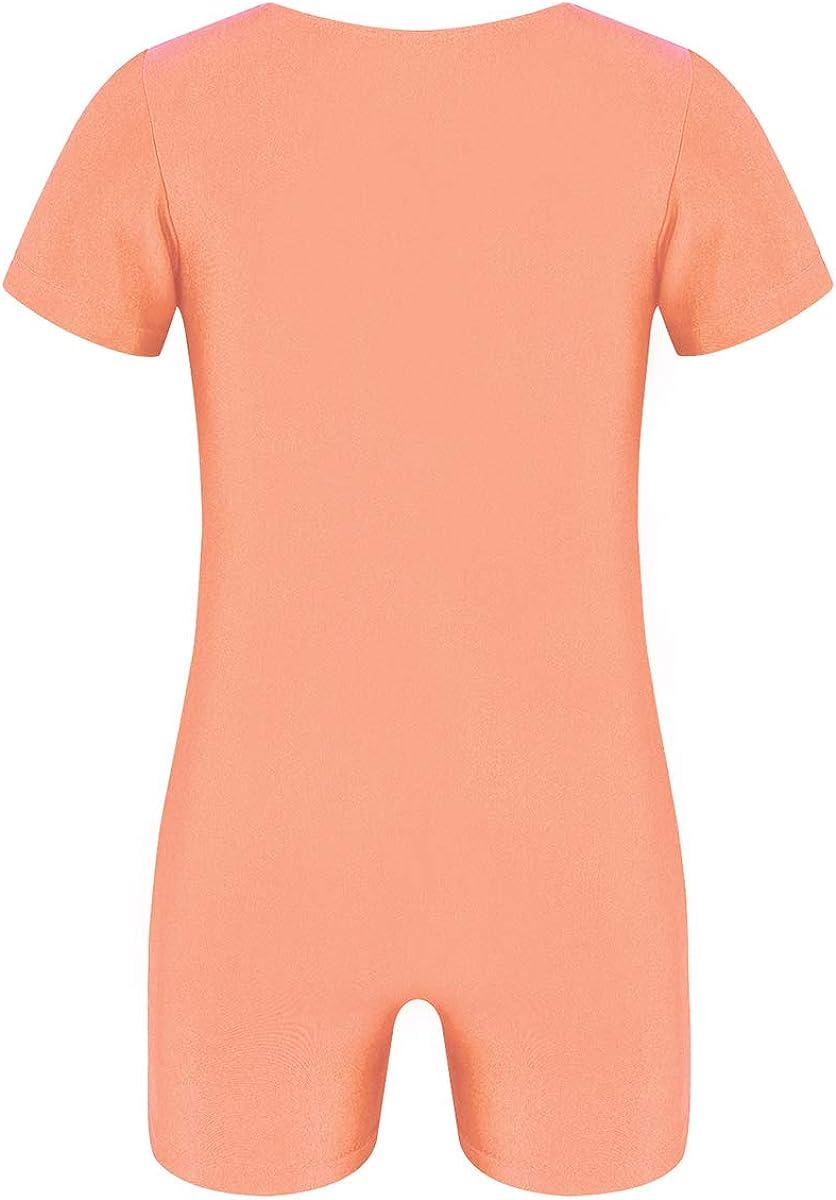 Mufeng Unisex Boys Girls Solid Colour Short Sleeves Unitard Biketard Gymnastics Leotard