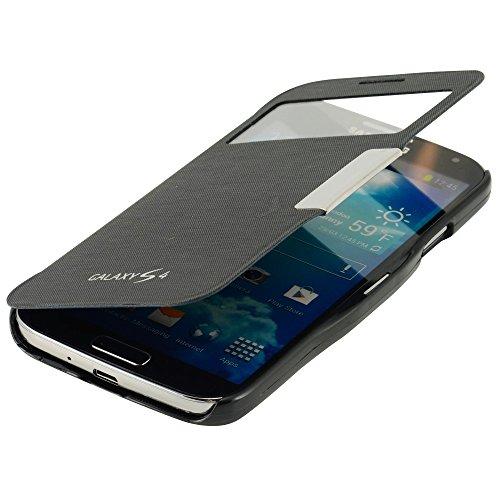 N63- Flipcasse für Samsung S4 i9500 i9505 LTE / Smart Windows View / Auto Sleep / Sichtfenster / Schutzhülle in Schwarz