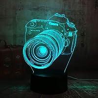 カメラ3D LEDナイトライトクリエイティブホームデコレーション3Dビジョン3Dビジュアル照明7色変更USB充電テーブルランプ誕生日プレゼントエンターテイメント装飾ギフト子供のおもちゃ [並行輸入品]