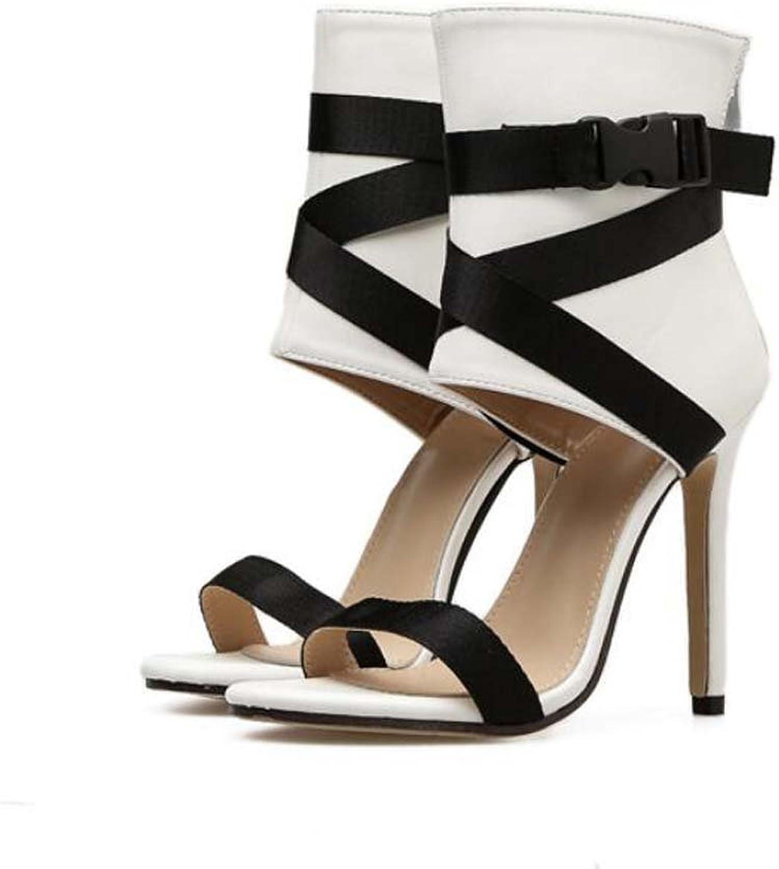 Women Pump 11.5cm Stiletto Sandals Open Toe D'Orsay Ankel Strap Dress shoes Sexy colormatch Bondage Zipper OL Court shoes Roma shoes EU Size 34-40