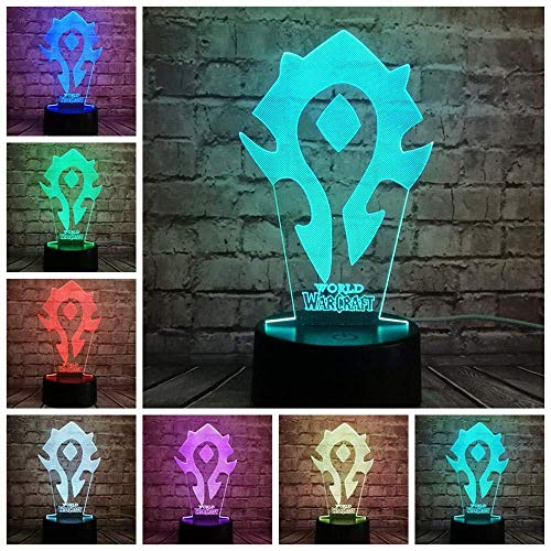 Slideshowillusion 3D 16 Couleurs Night Light Game Wow Logo De La Mode World Of Warcraft Décoration Bébé Sommeil Humeur Night Light Vacances Ami Fête Noël Cadeau Night Light Lampe I