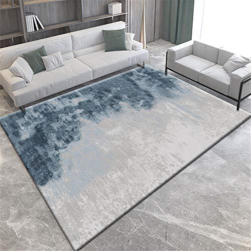 Alfombras Decoracion Dormitorio Alfombra Lavable de diseño Minimalista Azul grisáceo fácil de Limpiar Alfombra para Salon Mesa recibidor 50*120CM