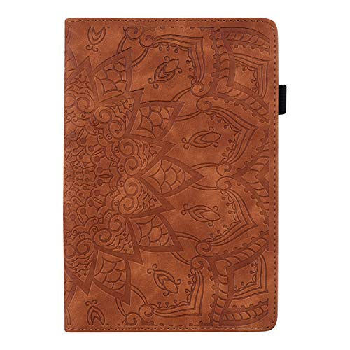 Pefcase iPad Mini 7.9 inch Case/Mini 2/ Mini 3/Mini 4/ Mini 5 Cover, PU Leather Lightweight Slim with Multiple Viewing Angles Card Holders Mandala Flower for iPad Mini 2/3/4/5 - Brown