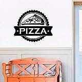 Tianpengyuanshuai Pizza Logo pizzería Etiqueta de la Pared pizzería Art Decal Ventana calcomanía decoración del hogar Cocina Restaurante mural-42x34cm