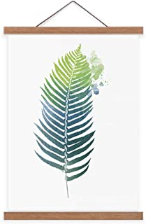 Asenart Canvas Painting Print Wall Art with Teak Wooden Poster Hanger Simply Life Green Plant Leaf Picture for Bathroom No...