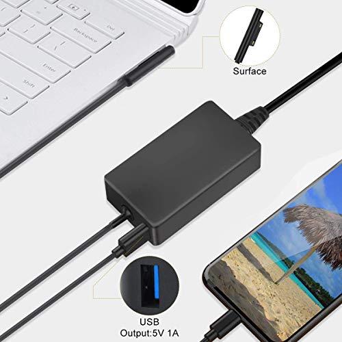 Ladegerät für Surface Pro, Surface Pro 6/5/4/3, Netzteil 44 W, 15 V, 2,58 A, für Microsoft Surface Pro 6, Surface Pro 5/4/3, Modell 1796 mit USB-Port und Verlängerungskabel