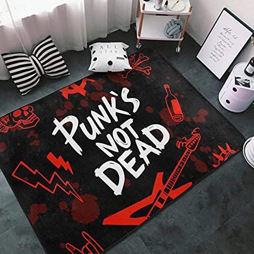 Area Rug Modern Unique Area Carpet Anti Slip Carpets for Bathroom,Office, Dining Room, Indoor Thick Soft Carpets Punk Rock Set Skull Punks not Dead Words red 6 Rug