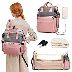 Diaper Bag with Changing Station, Travel Foldable Baby Bed, Baby Bag Backpack, Multi-Function Large-Capacity, Portable Bassinets with USB Charging Port, Waterproof, Grey/Pink