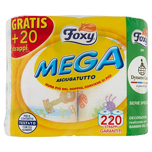 6 x FOXY Carta Cucina Mega 2 Veli Maxi Rotoli Decorati 2 Pezzi