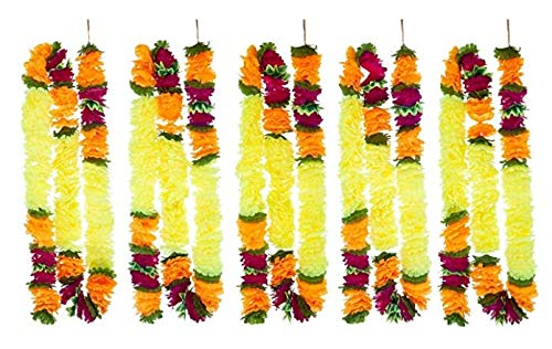 5 Pack Artificial All Yellow Fancy Fusion Flower Garlands 5ft Long-The Perfect Decoration for Indian Decor Diwali House Warming Wedding Themed Events