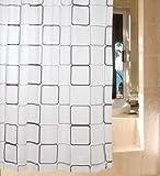 シャワーカーテン 防水防カビ加工 カーテンリング付属 白黒スクエア A021020AAの写真