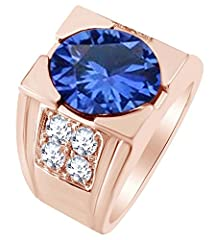 Adds A Touch Of Nature-Inspired Beauty To Your Look Engagement Band Ring In 14k Solid Rose Gold Makes a Standout Addition to Your Collection With Round Simulated Blue Sapphire and White Natural Diamond Having 1.20 cttw Round Shape Simulated Blue Sapp...