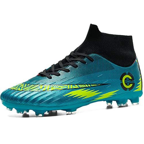 Donbest Botas de Fútbol para Hombre Spike Zapatos de fútbol Profesionales Aire Libre Calzado de Fútbol Atletismo Zapatillas de Fútbol,Azul,EU36