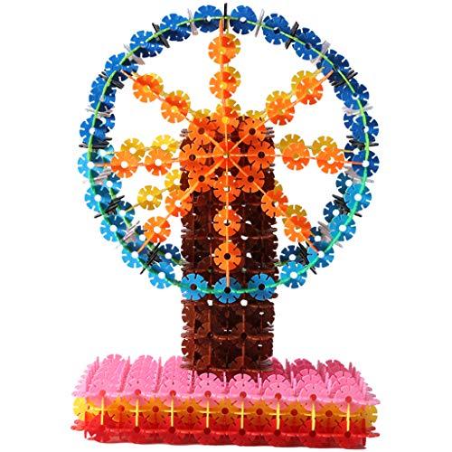 Jouets éducatifs de flocon de neige, enfants assemblés blocs de construction grand 3-6 ans femelle puzzle en plastique insérer 1000 pièces, blocs de flocon de neige verrouillage disque en plastique