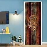 SJYHNB Adesivo di Porta Modello di drago Buccia e Bastone Vinile Rimovibile Porta Decalcomanie per la Decorazione Domestica L80 x A210cm