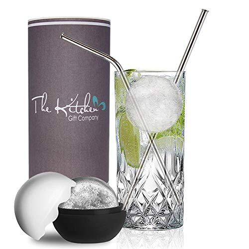 Longdrink-Kristallglas / Mixer-Set mit 5 cm großer Eiskugelform und Edelstahl-Strohhalmen. Perfekt für Gin & Tonic, Wodka-Cola oder Cocktails