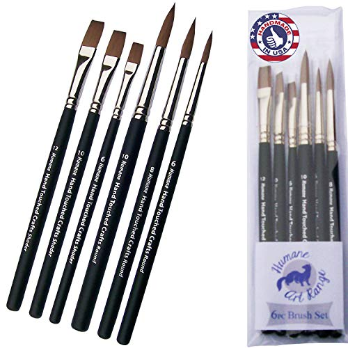 6pc Synthetic Sable Artist Paintbrush Set: Cruelty Free Paintbrushes for Watercolor Painting & Mixed Media. Humane Art Brushes, Look & Feel Like Natural Sable Without Costing A Wild Animals Life!