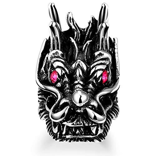 NOBRAND Anillo de Garra de dragón de Plata esterlina 925 Anillo de Garra de dragón de Cristal Rojo Negro Anillo de joyería de Hombre Dragón gótico Anillo de Hombre clásico de Venta 9