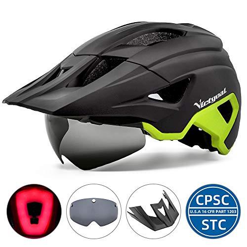VICTGOAL Fahrradhelm MTB Helm für Erwachsene Leichte Stadt-Fahrradhelm LED Rücklicht mit Magnetischem Brille Abnehmbarer Visier Verstellbar Radhelm für Herren Damen (Schwarz Gelb)