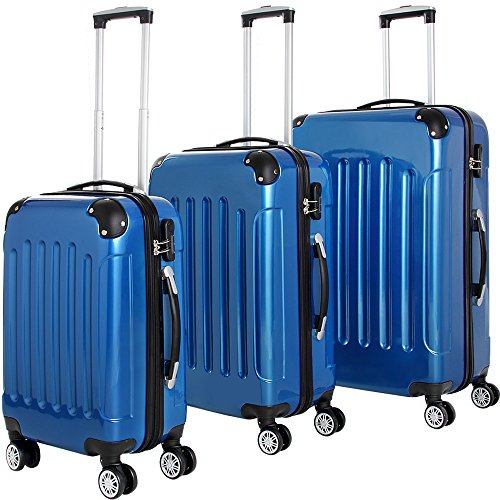 3 Pieces Hard Shell Suitcase Set Lightweight Trolley Cases Bag Luggage Black Blue Silver Travel 4 Wheel Spinner