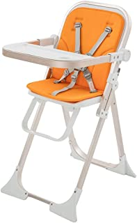 Compact Baby Highchair Baby Boost Chair With Tray Portable Padded Baby Highchair Baby Feeding High Chair (Color : Orange)