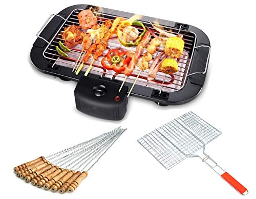 Ghime 3 in 1 Set for Electric Barbecue Grill Grilling Machine Outdoor Multi-Function Double Electric Oven 2000W Barbecue with 12 Pcs Barbecue Stick and Grill Net Basket - Black