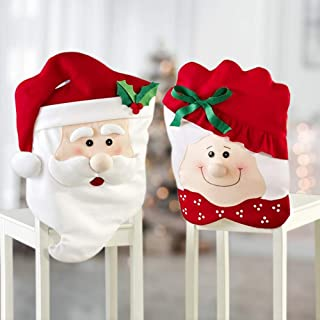 Christmas Chair Covers Slipcovers for Dinning Room, Set of 2 Mr & Mrs Santa Claus Hat Christmas Chair Back Covers for Xmas...