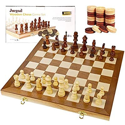 "Juegoal 15"" Wooden Chess & Checkers Set, 2 in 1 Board Games for Kids and Adults, with Felted Game Board Interior for Storage, Travel Portable Folding Chess Game Sets, Extra 24 Wooden Checkers Pieces"