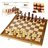 Juegoal 15' Wooden Chess & Checkers Set, 2 in 1 Board Games for Kids and Adults, with Felted Game Board Interior for Storage, Travel Portable Folding Chess Game Sets, Extra 24 Wooden Checkers Pieces