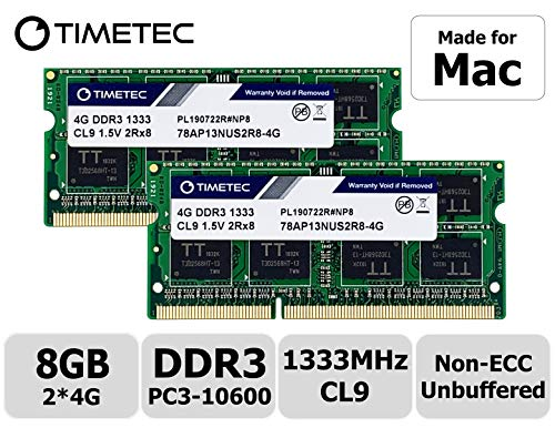 Timetec Hynix IC compatible with Apple 8GB Kit (2x4GB) DDR3 1333MHz PC3-10600 SODIMM Memory Upgrade For selected MacBook Pro/iMac/Mac Mini. thumbnail