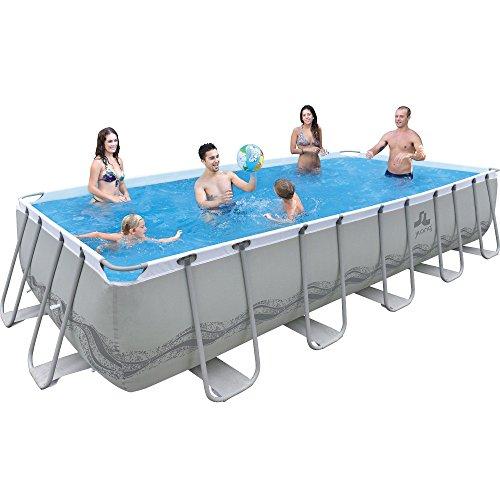 Jilong Passaat Grey 540 Set - Stahlrahmenbecken, rechteckiger Pool 540x274x122cm mit Filterpumpe und Kartusche, Leiter, Boden- und Abdeckplane