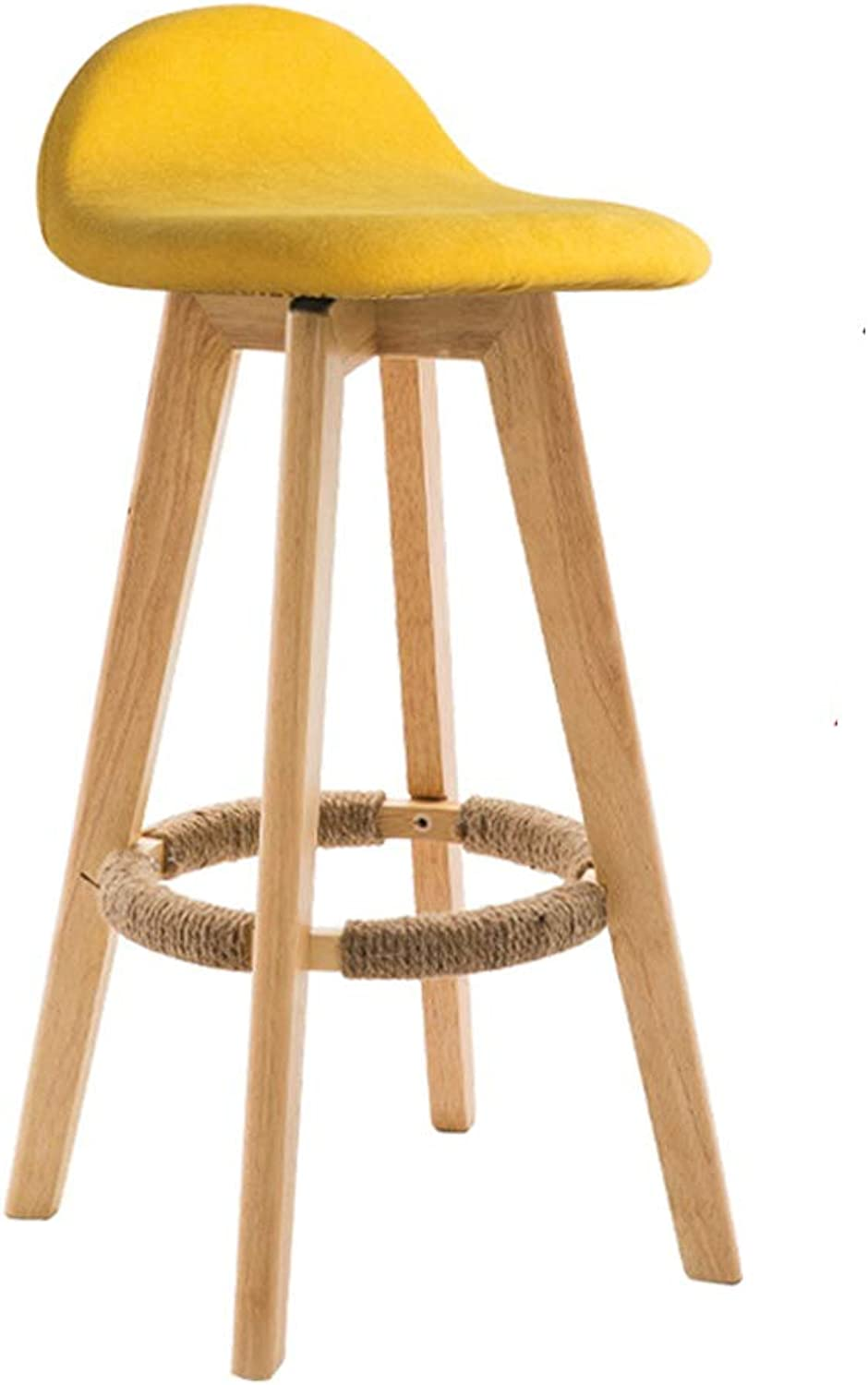 YAN JUNau Bar Stool high Chair Back Linen Cover seat Dining Chair Suitable for Kitchen bar Cafe 4 Solid Wood Legs can Carry 150 kg Sitting Height 63 73 83cm (color   Yellow, Size   73cm)