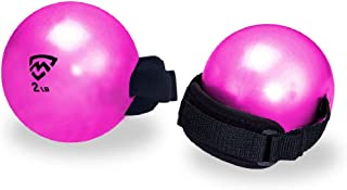 MANYTONEZ 2lb Soft Weighted Toning Ball/Medicine Ball with Handle Strap - Set of 2 - for Pilates, Yoga, Barre, Physical Therapy, and Core Training