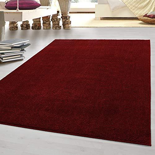 HomebyHome tappeto moderno a pelo corto, economico, tinta unita mélange, per salotto, camera da letto, corridoio, cucina, Rot, 160 x 230 cm
