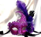 MasqStudio Brocade Lace Masquerade Ball Mask Burlesque Mardi Gras Birthday Prom Wedding Party (Purple)