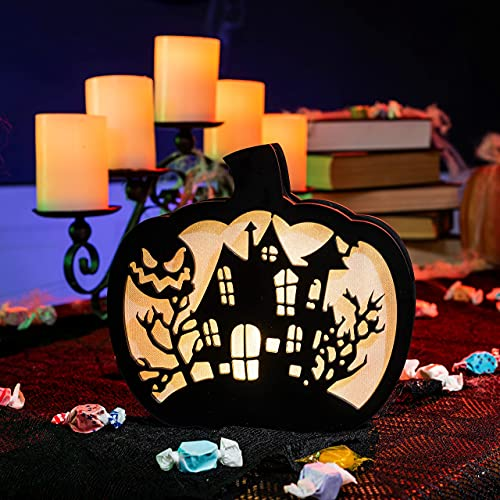 JOYIN Halloween Lighted Pumpkin Shadow Box Pumpkin Decoration, Double-Sided LED Pumpkin Lamp Lantern Table Decor…