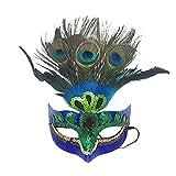 Runfon Máscara de Maquillaje Máscara de Prom Peacock Máscara de Plumas de Peacock Mascarilla de Fiesta Mascarada Veneciana Máscara para Mujer Azul
