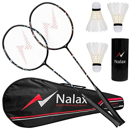 nalax Badminton Set 2 Player Badminton Rackets Professional Graphite HighGrade Badminton Racquet with 3 Nylon Shuttlecocks and 1 Carrying Bag for Outdoor Backyard Games Perfect for Adults Kids