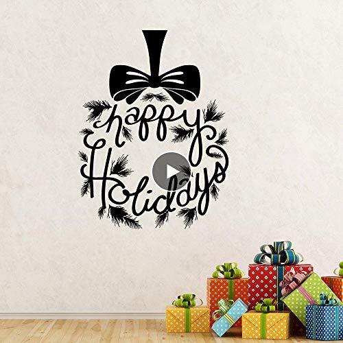 Muursticker Fijne Feestdagen Muursticker Cadeau Venster Vinyl Muren Krijtbord Vinyl Art Sticker Kerstmis Verwijderbare Decal voor muur 42Cmx55Cm
