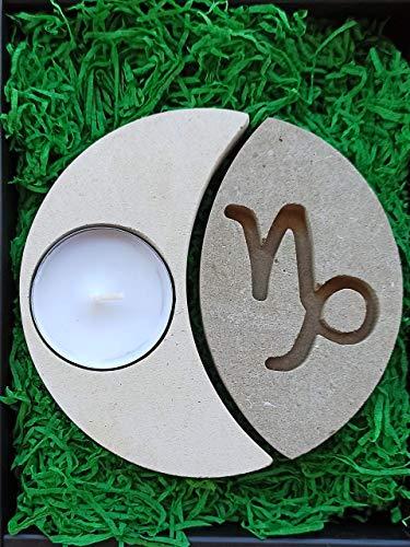 Steinbock Sternzeichen Teelicht Kerzenhalter aus Stein - Handgemacht in Italien - Box, Teelicht Kerze und Nachrichtenkarte enthalten - Geschenkidee Geburtstag November Dezember - Sternzeichen Erde