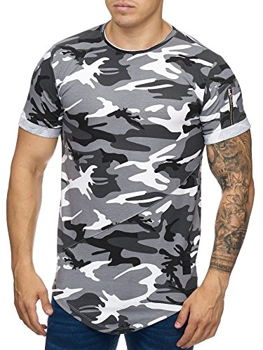 Cabin Oversize Army Camouflage Herren Vintage Rundhals T-Shirt Grau L