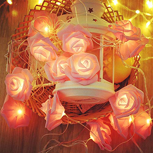Pink Rose Flower outdoor String Light, Battery Operated Rose Flower Garland Fairy Lights, for Wedding Home Party Birthday Festival Indoor Outdoor Decorations Rose (Pink, 40 LED)